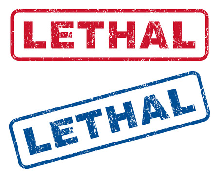 lethal: Lethal text rubber seal stamp watermarks. Vector style is blue and red ink caption inside rounded rectangular banner. Grunge design and scratched texture. Blue and red signs. Illustration