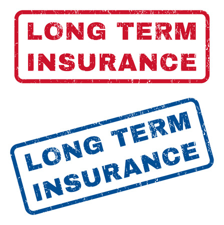 long term: Long Term Insurance text rubber seal stamp watermarks. Vector style is blue and red ink tag inside rounded rectangular shape. Grunge design and scratched texture. Blue and red stickers.