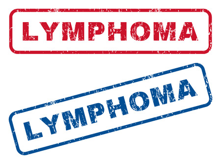 lymphoma: Lymphoma text rubber seal stamp watermarks. Vector style is blue and red ink caption inside rounded rectangular banner. Grunge design and unclean texture. Blue and red signs.
