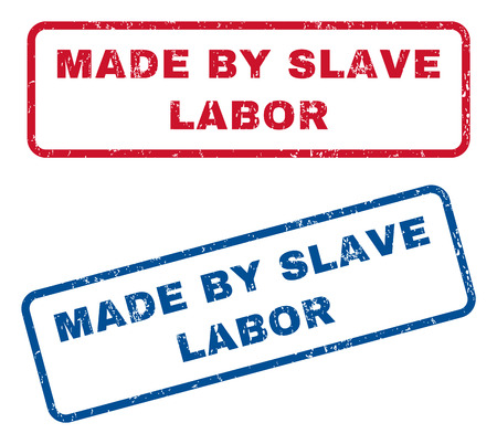 slavery: Made By Slave Labor text rubber seal stamp watermarks. Vector style is blue and red ink tag inside rounded rectangular shape. Grunge design and scratched texture. Blue and red stickers.