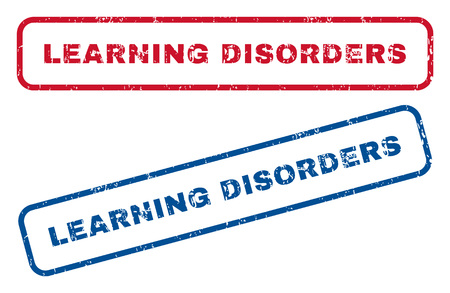 dyslexia: Learning Disorders text rubber seal stamp watermarks. Vector style is blue and red ink caption inside rounded rectangular shape. Grunge design and dust texture. Blue and red stickers.