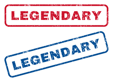 legendary: Legendary text rubber seal stamp watermarks. Vector style is blue and red ink caption inside rounded rectangular shape. Grunge design and dust texture. Blue and red emblems.