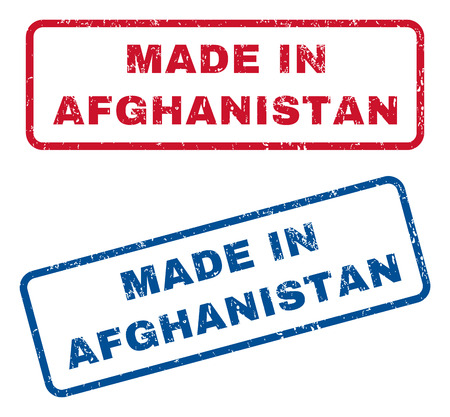 afghan: Made In Afghanistan text rubber seal stamp watermarks. Vector style is blue and red ink caption inside rounded rectangular shape. Grunge design and unclean texture. Blue and red signs. Illustration