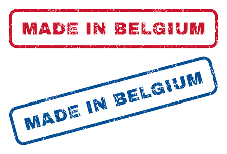 made in belgium: Made In Belgium text rubber seal stamp watermarks. Vector style is blue and red ink caption inside rounded rectangular shape. Grunge design and scratched texture. Blue and red signs. Illustration