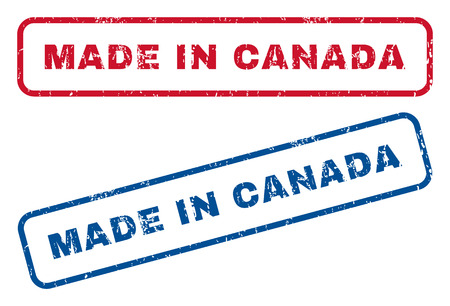 canada stamp: Made In Canada text rubber seal stamp watermarks. Vector style is blue and red ink caption inside rounded rectangular shape. Grunge design and dirty texture. Blue and red emblems.