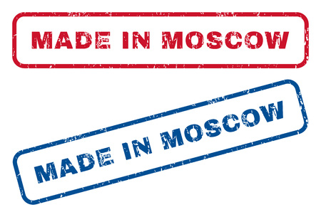 moscovian: Made In Moscow text rubber seal stamp watermarks. Vector style is blue and red ink tag inside rounded rectangular banner. Grunge design and unclean texture. Blue and red signs. Illustration