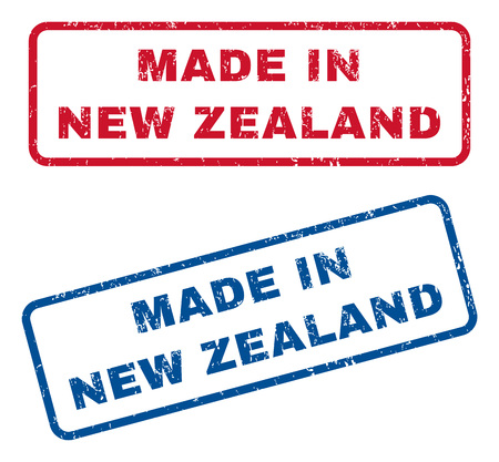 certificated: Made In New Zealand text rubber seal stamp watermarks. Vector style is blue and red ink tag inside rounded rectangular banner. Grunge design and unclean texture. Blue and red stickers. Illustration