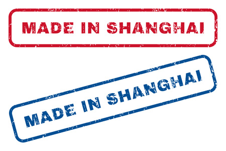 Made In Shanghai text rubber seal stamp watermarks. Vector style is blue and red ink tag inside rounded rectangular banner. Grunge design and scratched texture. Blue and red emblems.