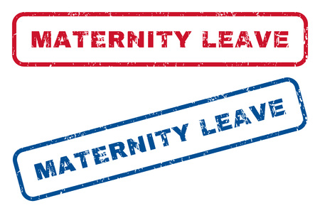 maternity leave: Maternity Leave text rubber seal stamp watermarks. Vector style is blue and red ink caption inside rounded rectangular banner. Grunge design and unclean texture. Blue and red emblems.