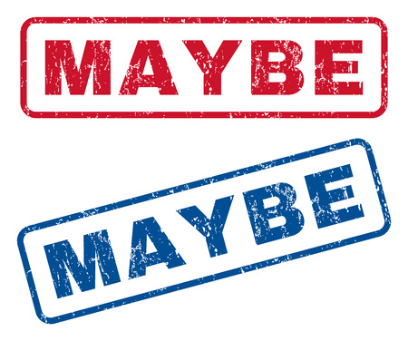 maybe: Maybe text rubber seal stamp watermarks. Vector style is blue and red ink tag inside rounded rectangular shape. Grunge design and scratched texture. Blue and red emblems.