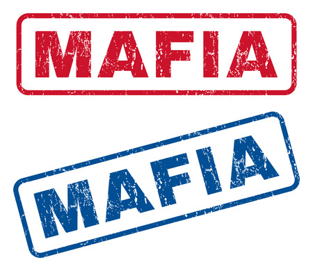 Mafia text rubber seal stamp watermarks. Vector style is blue and red ink tag inside rounded rectangular shape. Grunge design and dirty texture. Blue and red emblems.