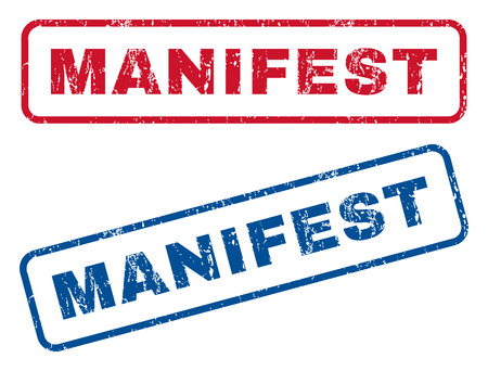 Manifest text rubber seal stamp watermarks. Vector style is blue and red ink tag inside rounded rectangular shape. Grunge design and unclean texture. Blue and red signs.