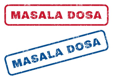 Masala Dosa text rubber seal stamp watermarks. Vector style is blue and red ink caption inside rounded rectangular banner. Grunge design and unclean texture. Blue and red stickers.