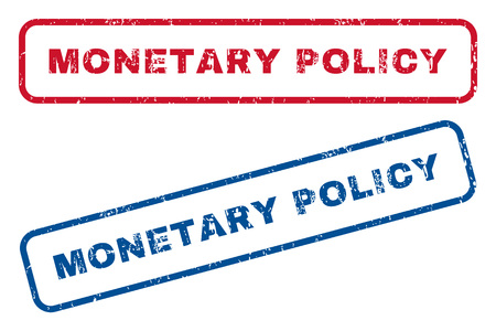 Monetary Policy text rubber seal stamp watermarks. Vector style is blue and red ink caption inside rounded rectangular banner. Grunge design and dust texture. Blue and red emblems.