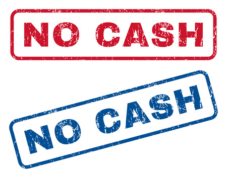 No Cash text rubber seal stamp watermarks. Vector style is blue and red ink caption inside rounded rectangular banner. Grunge design and dirty texture. Blue and red stickers.