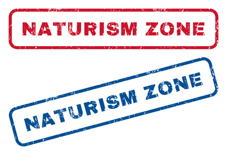 Naturism Zone text rubber seal stamp watermarks. Vector style is blue and red ink tag inside rounded rectangular shape. Grunge design and scratched texture. Blue and red signs.