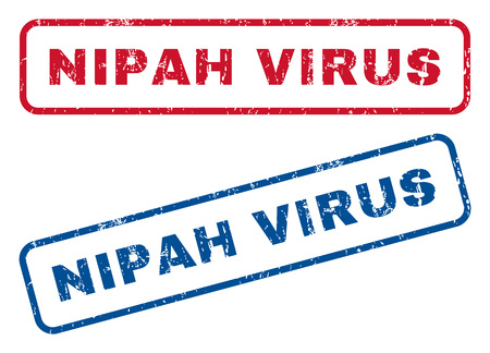 quarantine: Nipah Virus text rubber seal stamp watermarks. Vector style is blue and red ink tag inside rounded rectangular shape. Grunge design and dust texture. Blue and red emblems.