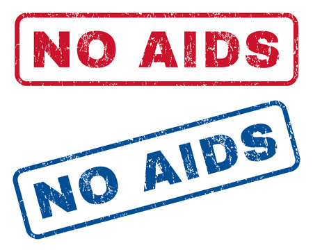 pathogen: No AIDS text rubber seal stamp watermarks. Vector style is blue and red ink caption inside rounded rectangular banner. Grunge design and dirty texture. Blue and red signs.