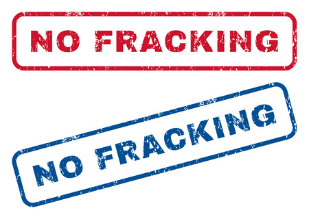 fracking: No Fracking text rubber seal stamp watermarks. Vector style is blue and red ink tag inside rounded rectangular shape. Grunge design and dirty texture. Blue and red emblems.