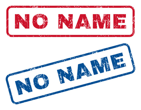 no name: No Name text rubber seal stamp watermarks. Vector style is blue and red ink caption inside rounded rectangular banner. Grunge design and dust texture. Blue and red emblems.
