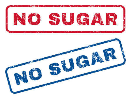No Sugar text rubber seal stamp watermarks. Vector style is blue and red ink caption inside rounded rectangular banner. Grunge design and scratched texture. Blue and red signs. Ilustração