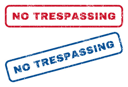 no trespassing: No Trespassing text rubber seal stamp watermarks. Vector style is blue and red ink caption inside rounded rectangular banner. Grunge design and dust texture. Blue and red signs.