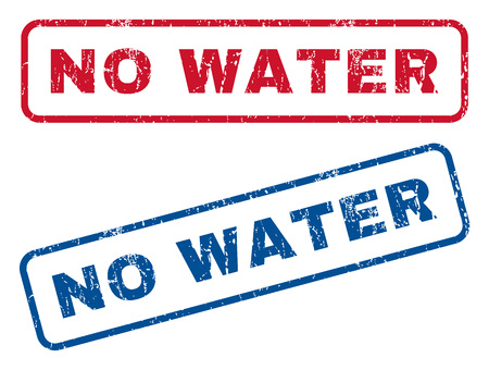 No Water text rubber seal stamp watermarks. Vector style is blue and red ink tag inside rounded rectangular banner. Grunge design and scratched texture. Blue and red stickers.