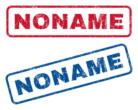 noname: Noname text rubber seal stamp watermarks. Vector style is blue and red ink caption inside rounded rectangular banner. Grunge design and unclean texture. Blue and red stickers. Illustration