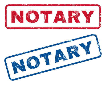 notary: Notary text rubber seal stamp watermarks. Vector style is blue and red ink caption inside rounded rectangular shape. Grunge design and dirty texture. Blue and red signs.