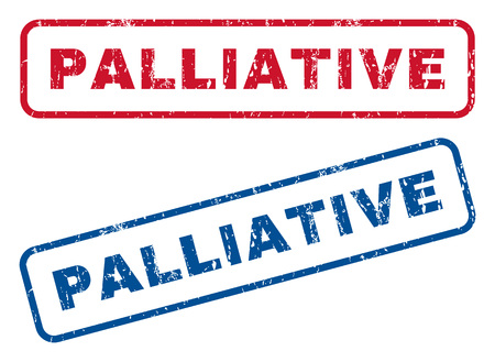 palliative: Palliative text rubber seal stamp watermarks. Vector style is blue and red ink tag inside rounded rectangular banner. Grunge design and unclean texture. Blue and red signs.