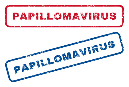 papillomavirus: Papillomavirus text rubber seal stamp watermarks. Vector style is blue and red ink caption inside rounded rectangular banner. Grunge design and unclean texture. Blue and red signs.