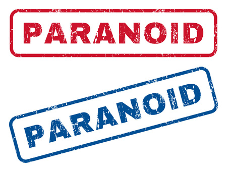 paranoid: Paranoid text rubber seal stamp watermarks. Vector style is blue and red ink caption inside rounded rectangular banner. Grunge design and scratched texture. Blue and red emblems. Illustration