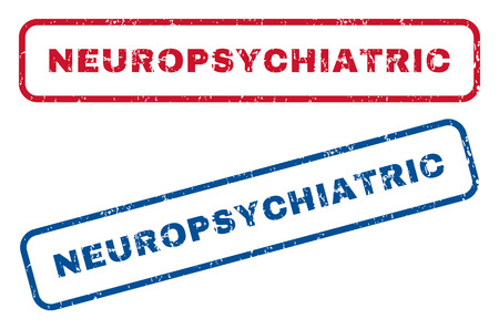 Neuropsychiatric text rubber seal stamp watermarks. Vector style is blue and red ink tag inside rounded rectangular banner. Grunge design and unclean texture. Blue and red signs.
