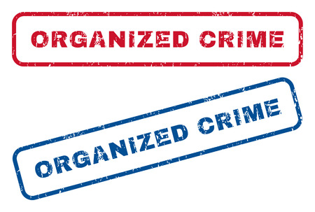 organized crime: Organized Crime text rubber seal stamp watermarks. Vector style is blue and red ink caption inside rounded rectangular banner. Grunge design and dirty texture. Blue and red signs. Illustration