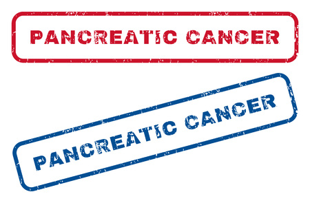 pancreatic cancer: Pancreatic Cancer text rubber seal stamp watermarks. Vector style is blue and red ink caption inside rounded rectangular shape. Grunge design and dust texture. Blue and red signs. Stock Photo