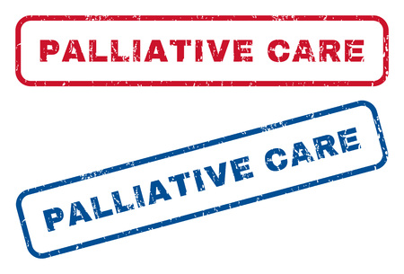 palliative: Palliative Care text rubber seal stamp watermarks. Vector style is blue and red ink caption inside rounded rectangular banner. Grunge design and dust texture. Blue and red signs.