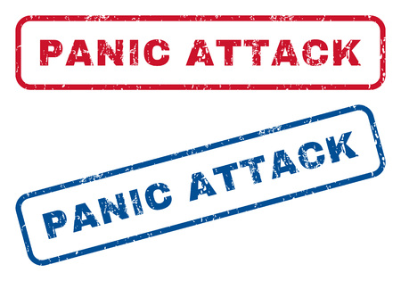 panic attack: Panic Attack text rubber seal stamp watermarks. Vector style is blue and red ink tag inside rounded rectangular shape. Grunge design and dust texture. Blue and red emblems.