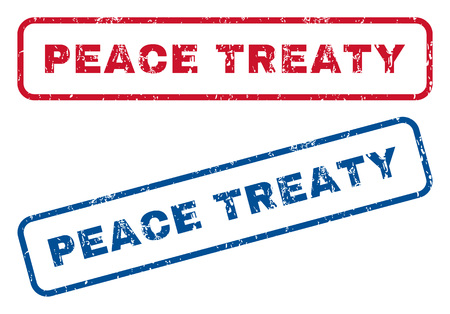 treaty: Peace Treaty text rubber seal stamp watermarks. Vector style is blue and red ink tag inside rounded rectangular banner. Grunge design and dust texture. Blue and red signs.