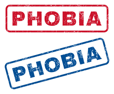 phobia: Phobia text rubber seal stamp watermarks. Vector style is blue and red ink tag inside rounded rectangular shape. Grunge design and scratched texture. Blue and red stickers. Illustration