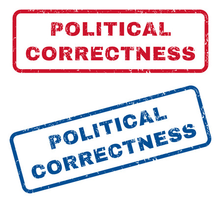 correctness: Political Correctness text rubber seal stamp watermarks. Vector style is blue and red ink caption inside rounded rectangular shape. Grunge design and dirty texture. Blue and red signs. Illustration