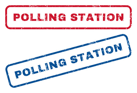 polling station: Polling Station text rubber seal stamp watermarks. Vector style is blue and red ink tag inside rounded rectangular banner. Grunge design and dirty texture. Blue and red signs. Illustration