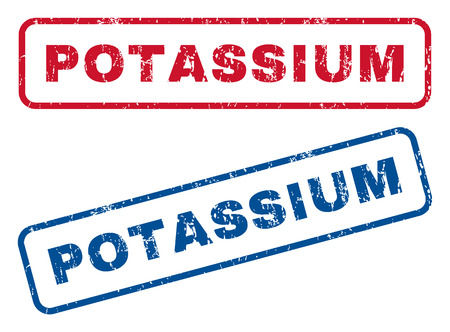potassium: Potassium text rubber seal stamp watermarks. Vector style is blue and red ink tag inside rounded rectangular shape. Grunge design and unclean texture. Blue and red stickers. Illustration