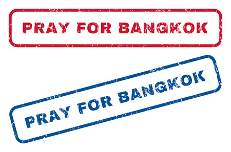implore: Pray For Bangkok text rubber seal stamp watermarks. Vector style is blue and red ink caption inside rounded rectangular banner. Grunge design and dirty texture. Blue and red stickers. Illustration