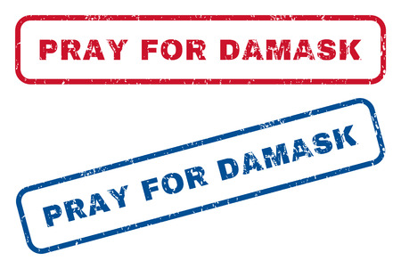 Pray For Damask text rubber seal stamp watermarks. Vector style is blue and red ink tag inside rounded rectangular shape. Grunge design and dust texture. Blue and red stickers.