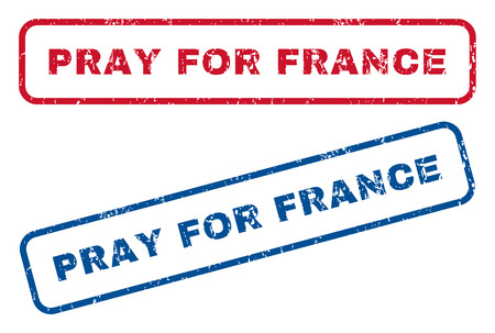 implore: Pray For France text rubber seal stamp watermarks. Vector style is blue and red ink tag inside rounded rectangular banner. Grunge design and dust texture. Blue and red signs. Illustration