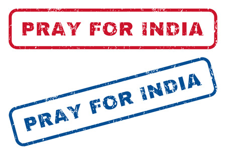 implore: Pray For India text rubber seal stamp watermarks. Vector style is blue and red ink tag inside rounded rectangular shape. Grunge design and dirty texture. Blue and red signs. Illustration