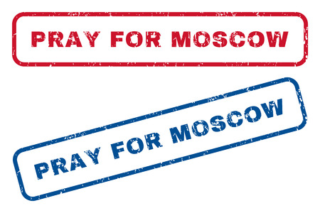 Pray For Moscow text rubber seal stamp watermarks. Vector style is blue and red ink tag inside rounded rectangular banner. Grunge design and scratched texture. Blue and red stickers.