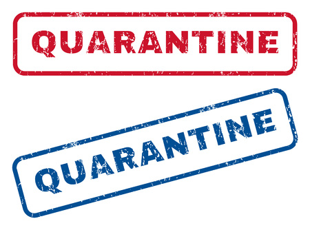 quarantine: Quarantine text rubber seal stamp watermarks. Vector style is blue and red ink caption inside rounded rectangular shape. Grunge design and dust texture. Blue and red emblems.