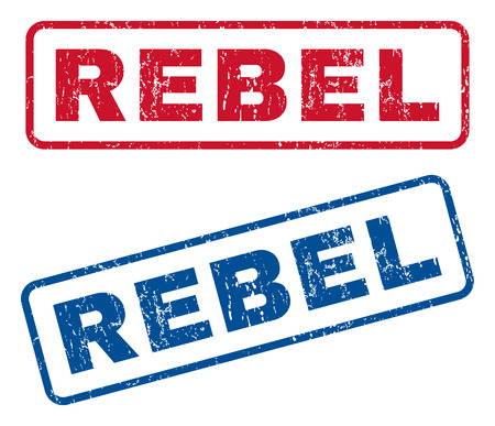 Rebel text rubber seal stamp watermarks. Vector style is blue and red ink caption inside rounded rectangular banner. Grunge design and unclean texture. Blue and red emblems.
