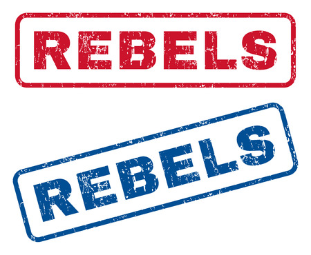 Rebels text rubber seal stamp watermarks. Vector style is blue and red ink tag inside rounded rectangular shape. Grunge design and dust texture. Blue and red stickers.
